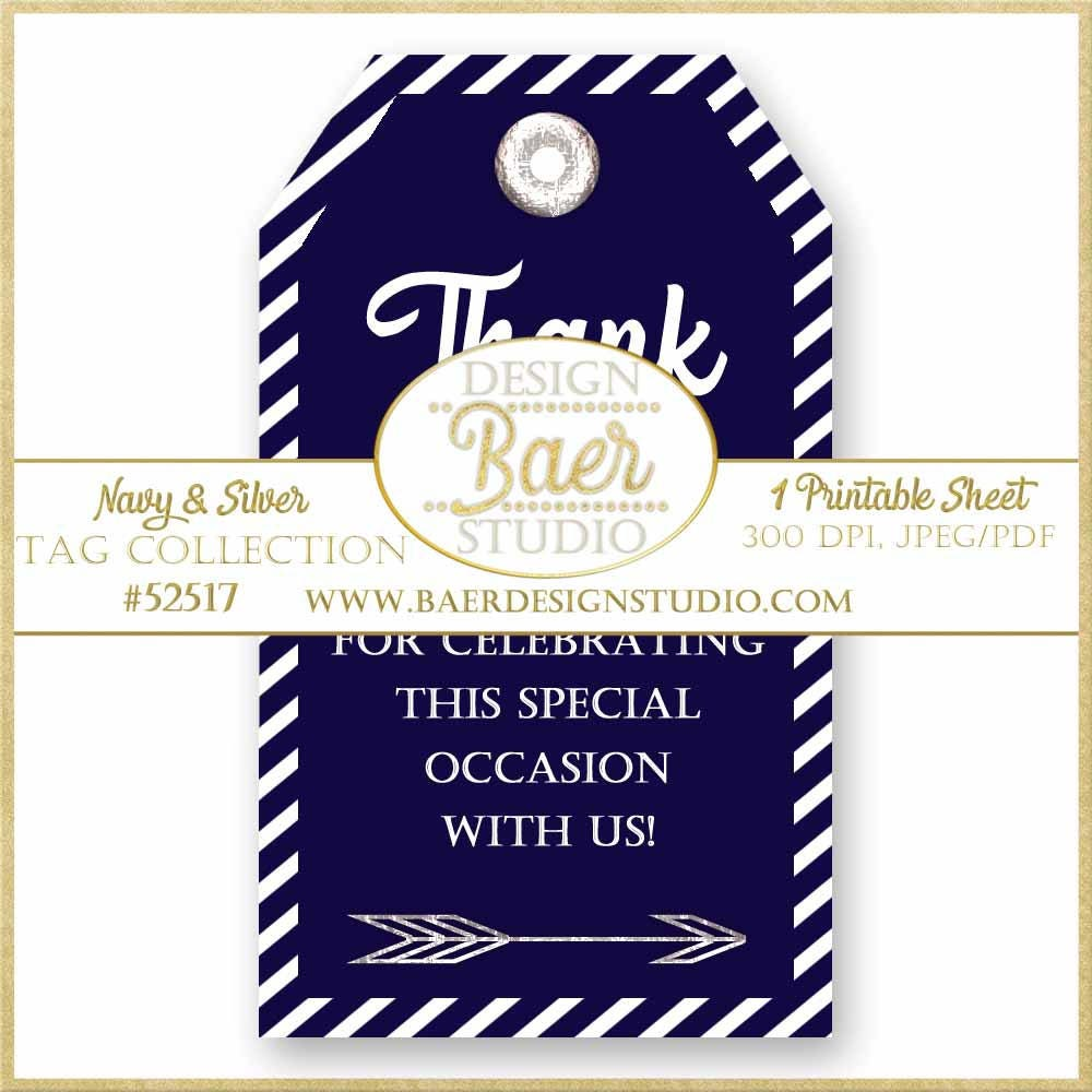 Party Favor Tags, Gift Tags, Navy and Silver Printable Tags, Wine ...