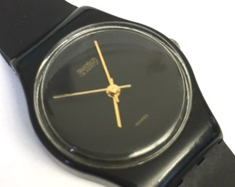 "1985 Ladies ""Black Magic"" LB106 / Rare Vintage 80s Swatch Watch / Gold Hands / 1984 - 1985 Collection"