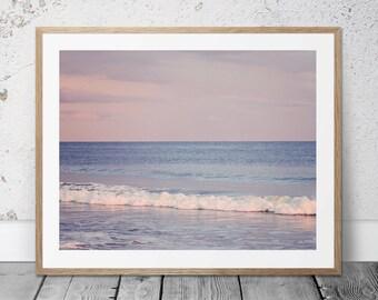 Printable Photograph, Ocean Photo, Digital Download, Beach Art, Coastal Photography, Purple Decor