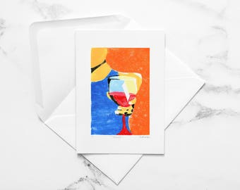 Wine Glass - Note Card - Congrats Card - Thinking of You - Salut - Cheers - Thank You Card - I Miss You Card - Blank Card - Wine Gift
