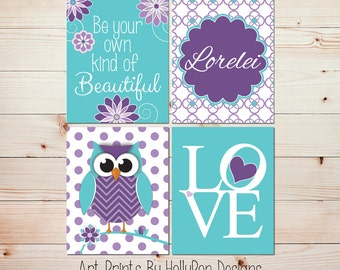 Baby nursery art Childrens art prints Nursery prints set Purple aqua Girls room art Girl owl decor Personalized baby decor Baby art #0827