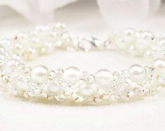 Flower Girl Bracelet, White Pearl, Rainbow Crystal Hugs and Kisses Hand Woven Bracelet, Childs Wedding Jewelry - Tania WFG129