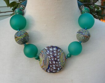 MAGNIFICENT Murano Venetian Glass Necklace, 4 Green Blown Glass & 5 Multicolored Glass Beads,Vinyl Disks,Statement Necklace by SandraDesigns