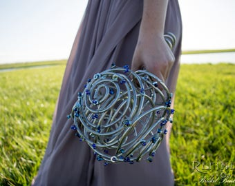 Swirled Metal Bouquet with Glass Bead and Hardware Accents