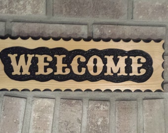 Hand Routed Wood Sign-WELCOME-Wood Sign-Carved Wood Sign-Cedar Sign-Outdoor Sign-Welcome Wood Sign