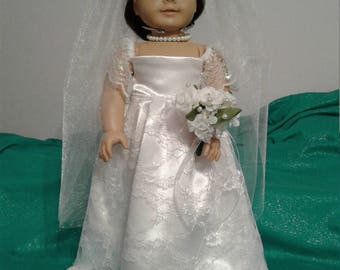 "18"" Doll Wedding Dress Ensemble"