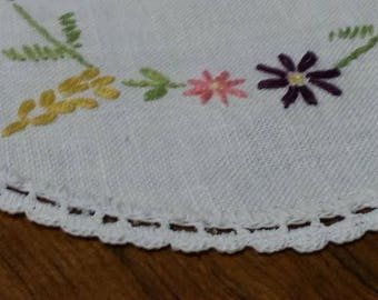 Vintage Round Embroidered Cotton Doily with Crocheted Edge