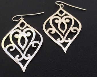 Classical hand-cut Filagree Hanging Earrings - Large 45mm- sterling silver