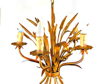 Vintage gold chandelier tole wheat sheaf  gilt metal 5 light candlestics coco chanel Italy 1950's 1960s