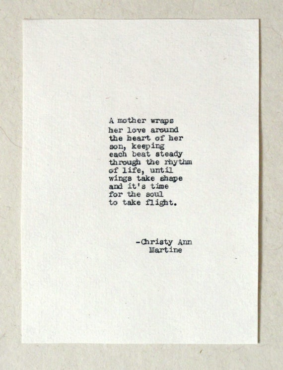 Mothers Day Gift from Son - Mother Son Gifts -  Poem - Hand Typed by Poet on Antique Typewriter