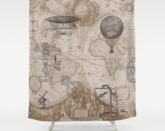 Steampunk Style Shower Curtain - hot air balloons,  map, antique brown, beige
