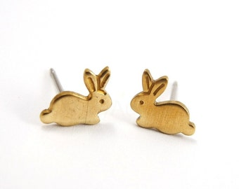 Bunny Earring Studs, Autumn Jewelry, Tiny Rabbit Earrings, Nature Forest Animal, Brass Jewelry, Sterling Silver Hypoallergenic Studs