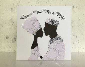 African wedding card, African fabric wedding card, Wedding day card, black wedding cards, ankara wedding, UK free shipping