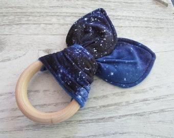 Stargazer Blue Galaxy Bunny Ear Teething Toy