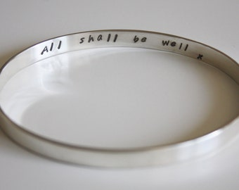Solid Silver Secret Message Bangle