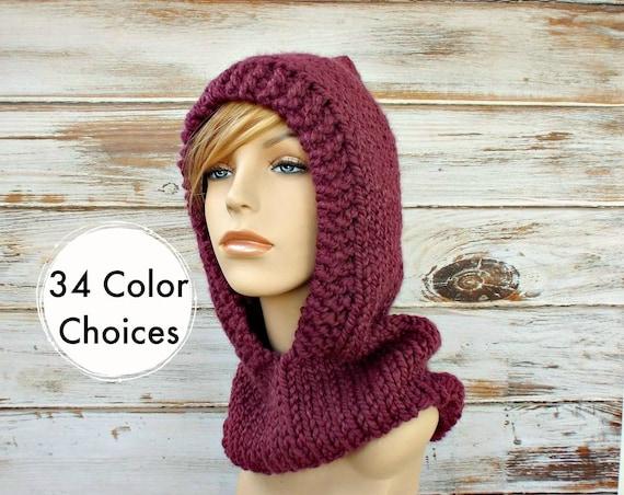 Fig Purple Knit Hat Womens Hat Purple Knit Hood Purple - Purple Hooded Cowl Purple Cowl Purple Hood Purple Hat - 34 Color Choices
