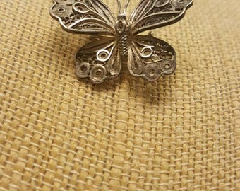 Small Butterlfy Silver toned brooch, Signed
