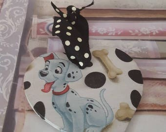 101 Dalmations Themed Wooden Heart 8cm