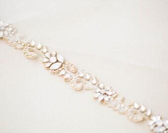 Bridal headband in gold color, Bridal headpiece, Headband - Style R85