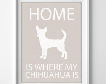 """8x10"""" Chihuahua Wall Art, Illustrated Dog Art, Chihuahua Decor, Dog Breed Wall Art, Minimalist Pet Art, Puppy Wall Art Print, Chihuahua Gift"""