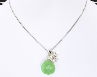 Letter M necklaces, M initial jade birthstone necklace, personalized sterling silver necklace gift with green jade and M coin letter charm