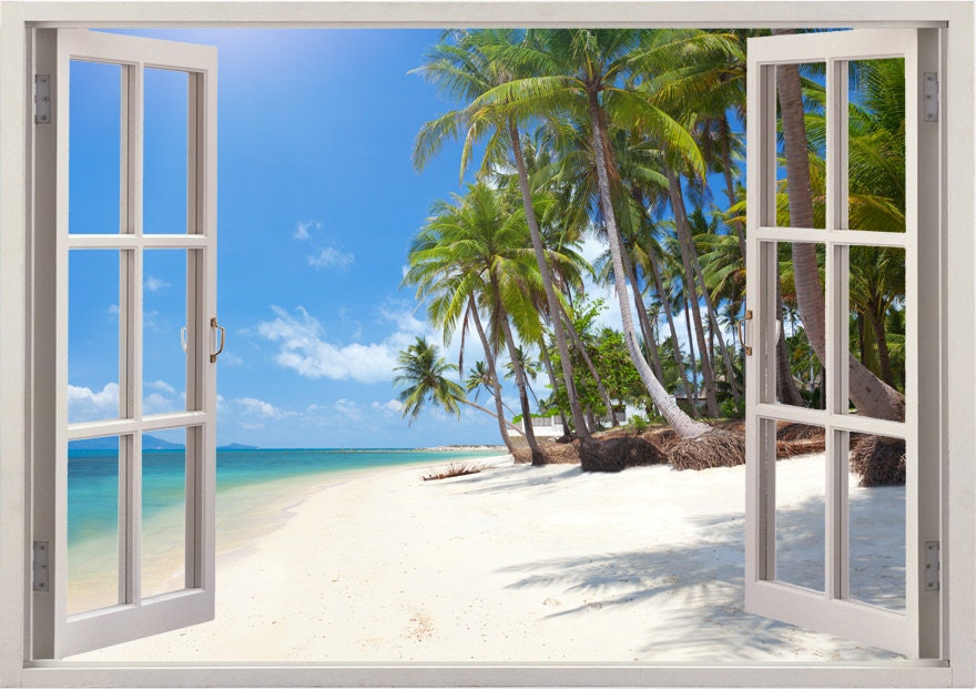 Tropical Beach Wall Decal Palm Tree Decal 3D Window For Home