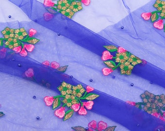 Blue Net Base Fabric With Golden and Pink Floral Embroidery -60107