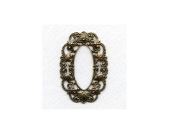 Filigree Stampings,Oval Frames, Oxidized Brass Filigree, 44x30mm Brass Stamping, 1PC