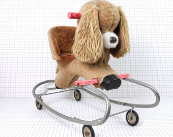 Vintage dog rocker and roller toy, children rocking dog rider, kids plush dog on wheels, furry rocker and roller dog for kids baby