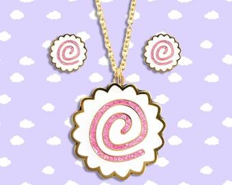 Kawaii Naruto Fish Cake Jewelry - Hard Enamel with Glitter Earrings Pendant