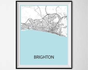 Brighton Map Poster Print - Black and White
