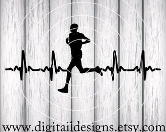 Runner EKG SVG - png - fcm - eps - dxf - ai Cut File - Silhouette - Cricut- Scan N Cut - Running Guy Heartbeat - Cross Country - Runner svg