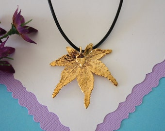 SALE Leaf Necklace, Gold Japanese Maple Leaf, Real Maple Leaf Necklace, Gold Leaf Pendant,SALE132