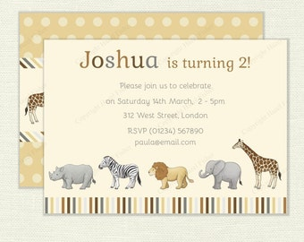 Safari Animals Invitation - printable digital invite for birthday parties or baby showers, elephant, lion, giraffe, zebra and rhino - IN028