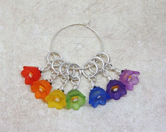 Rainbow Flowers stitch marker set of 7 Spring Flowers Summer Garden knitting floral