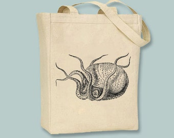 Cool Vintage Octupus Canvas Tote  - Selection of sizes available, image in ANY COLOR