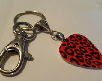 Guitar Pick KeyChain - Guitar Pick Jewelry - Red Key Chain - Leopard Key chain - Animal Print Jewelry - Pick Key Chain - Leopard Print