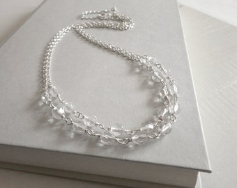 Double chain necklace minimalist sparkly necklace faceted glass beads layering necklace for women