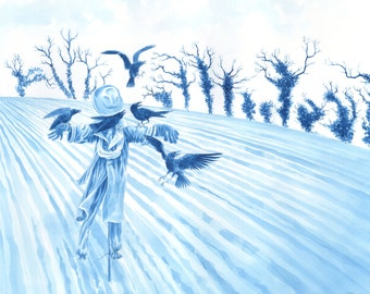 "Original art, mysterious painting of crows and a scarecrow in watercolour - ""Winter Tree Demons"" - sinister naked tree outlines. Blue"
