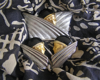 Art Deco Pin and Earring Set