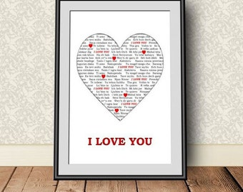I love you, digital download, instant download, printable art,  Typographic Art Print, love quote, Valentine gift, girlfriend, anniversary