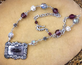 The Baroness, vintage assemblage necklace, purple, vintage crystals, sterling silver, Czech glass, Swarovski crystals