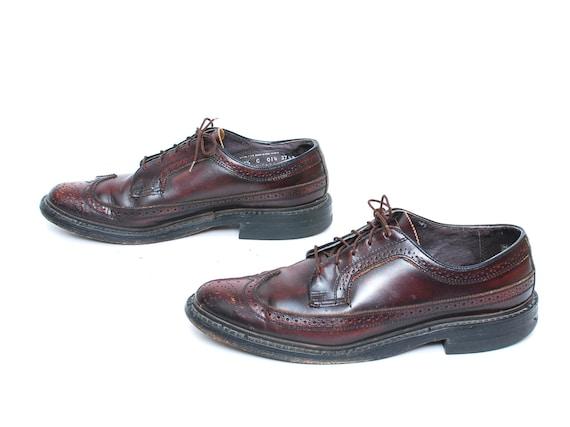size oxblood 80's WINGTIPS dress mens leather 9 OXFORD 5 shoes C7nIwq