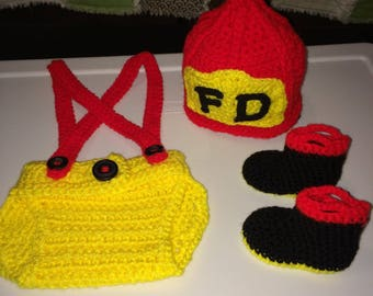 Fireman Hat, Diaper Cover & Booties