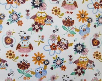 Waterslide decals, fused glass ceramics transfer, cute folk art owls, flowers, craft supplies, kiln craft, fusible glass art decal,