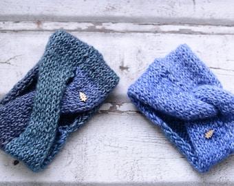 Knitted headbands / polyester + polyacryl  mix / blue