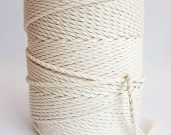4mm macrame cord 1.5kg Twisted cotton rope Macrame rope. Macrame cord about 280 m cotton cord 3 strand 5 / 32 in macrame rope. Cotton string