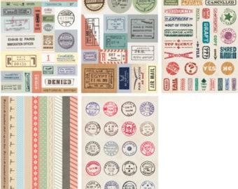 5 SheetsVintage Stamp Deco Stickers, Flora Stamp Stickers, Kawaii Sticker, Planner Sticker, Stickers, Scrapbook Sticker,Flora Sticker