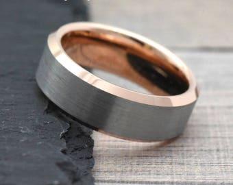 Mens Wedding Band Rose Gold, Rose Gold Wedding Band Mens, Unique Two Tone Wedding Ring, Rose Gold Ring for Men, Men's Rose Gold Ring Band