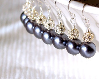 Bridesmaids Jewelry Set Of 7 Bridesmaids Earrings Grey Glass Pearls And Silver Earrings